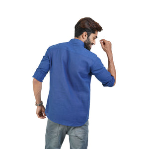 BLUE SOLID CASUAL KURTA SHIRT