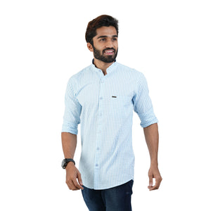 BLUE & WHITE SMALL CHECKS SHIRT