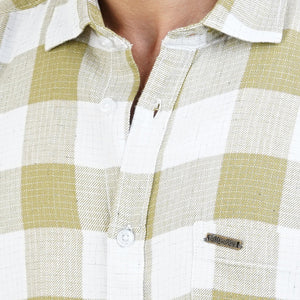 GREEN WHITE SMALL CHECKS SHIRT