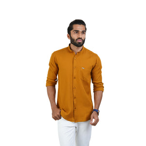 MUSTARD SELF DESIGN CASUAL SHIRT