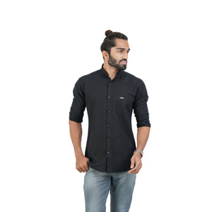 BLACK SELF DESIGN SHIRT