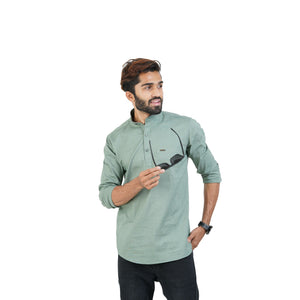 GREEN SOLID DESIGN KURTA SHIRT
