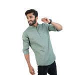 Load image into Gallery viewer, GREEN SOLID DESIGN KURTA SHIRT