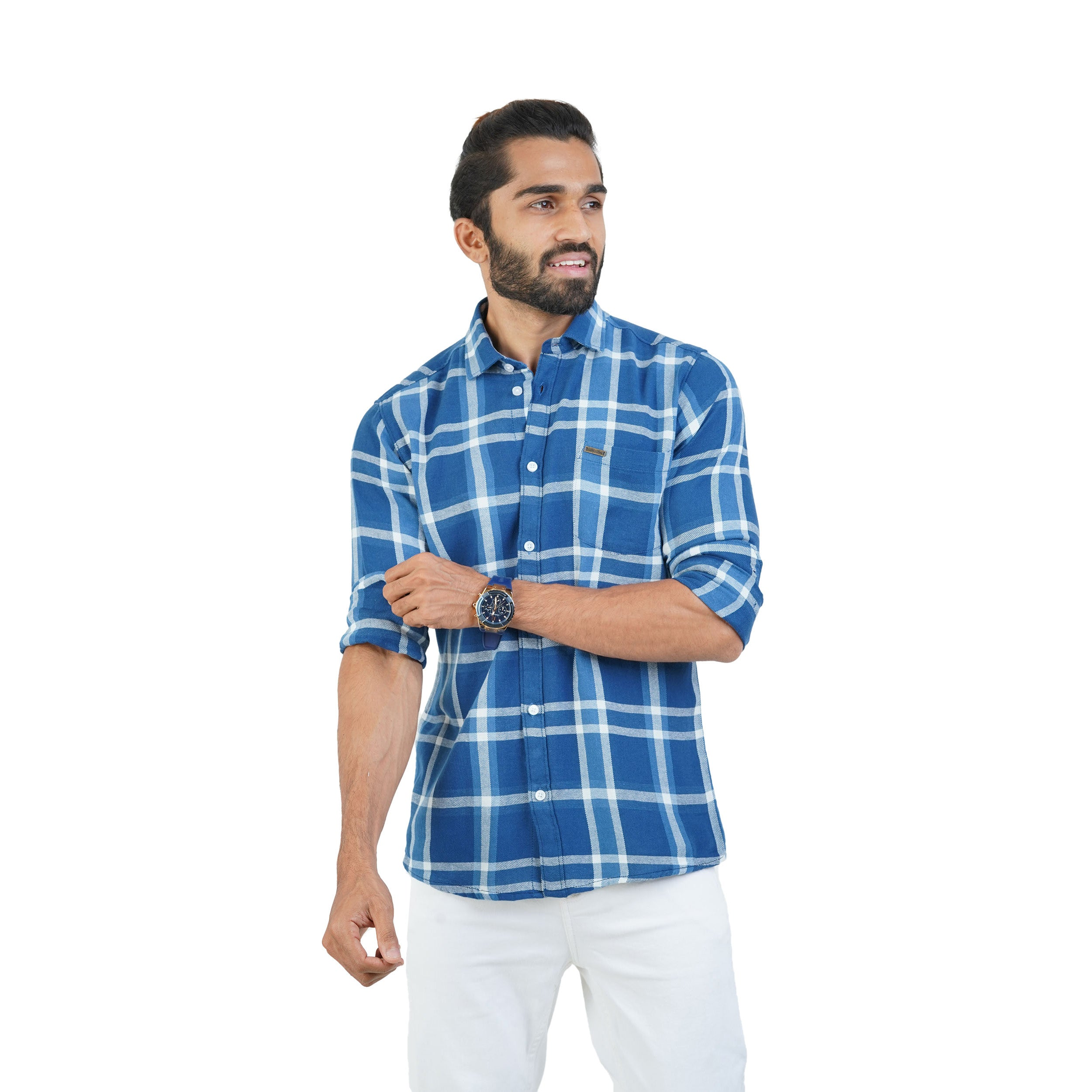 BLUE MULTI CHECKS TWILL SHIRT