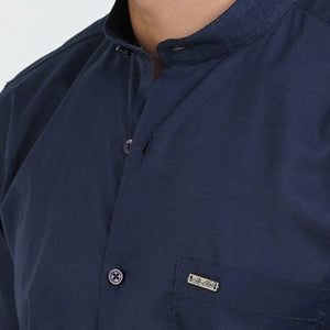 BLUE SOLID DESIGN CASUAL SHIRT