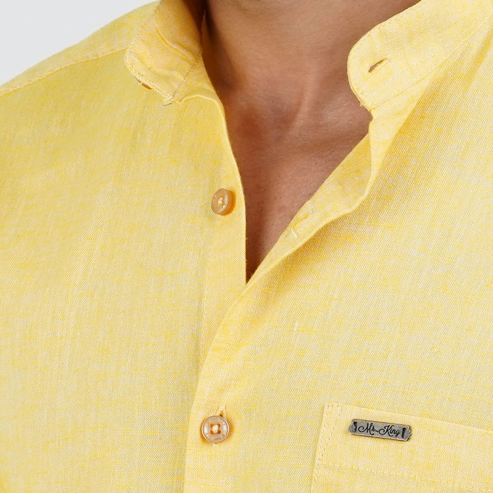 YELLOW SOLID DESIGN CASUAL SHIRT