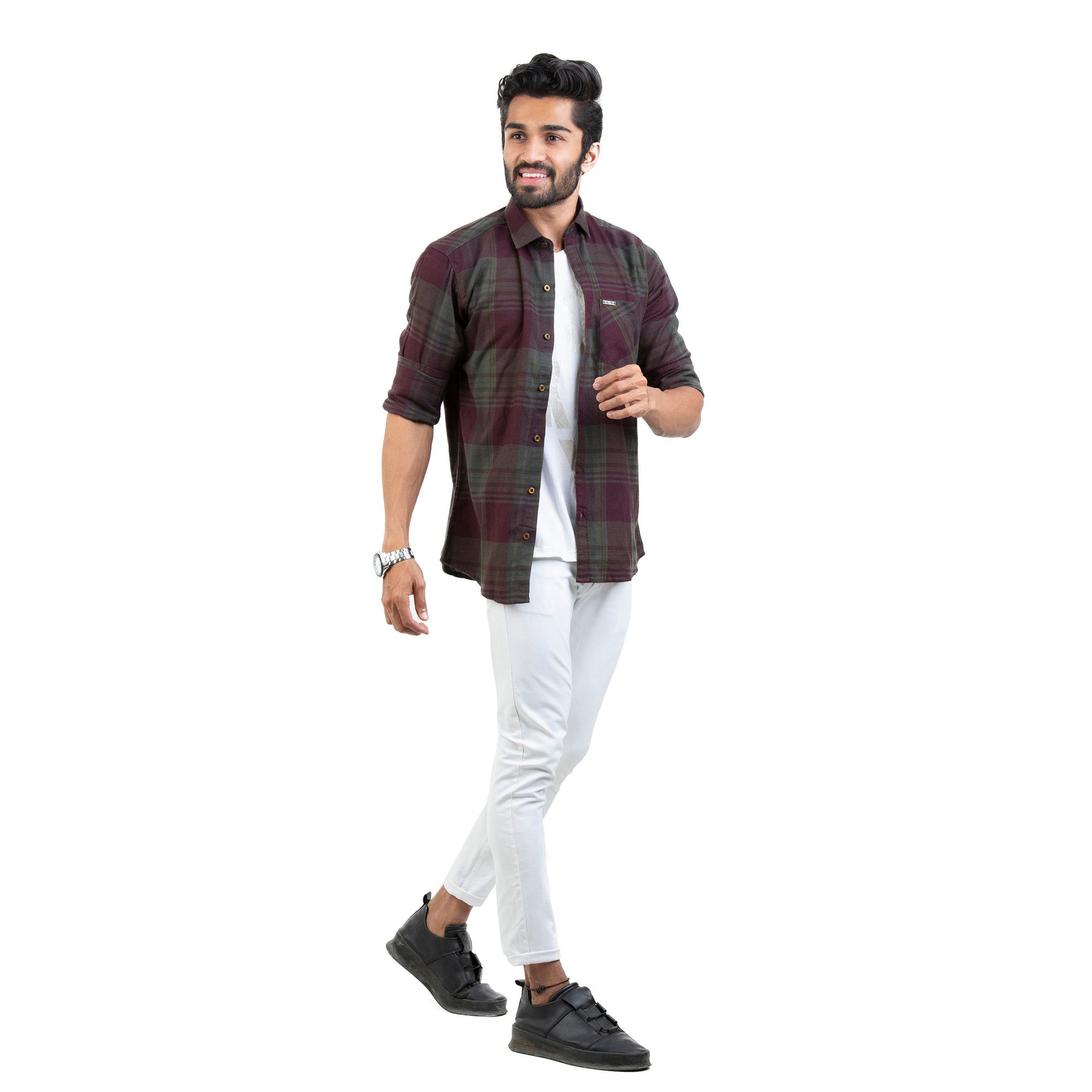 Soft Brushed Twill Checked Regular Fit Casual Shirt