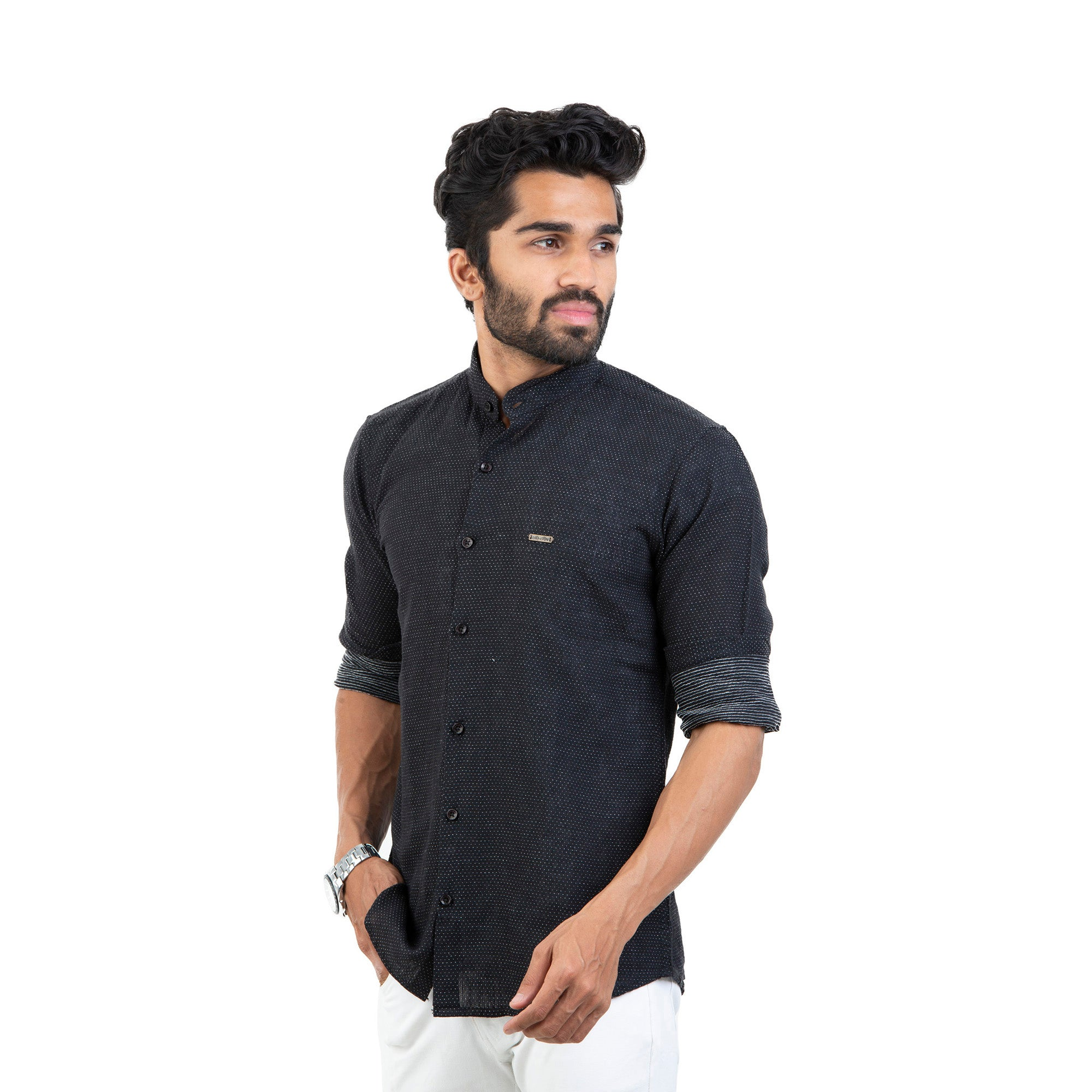 Black Self Design Cotton Linen Shirt