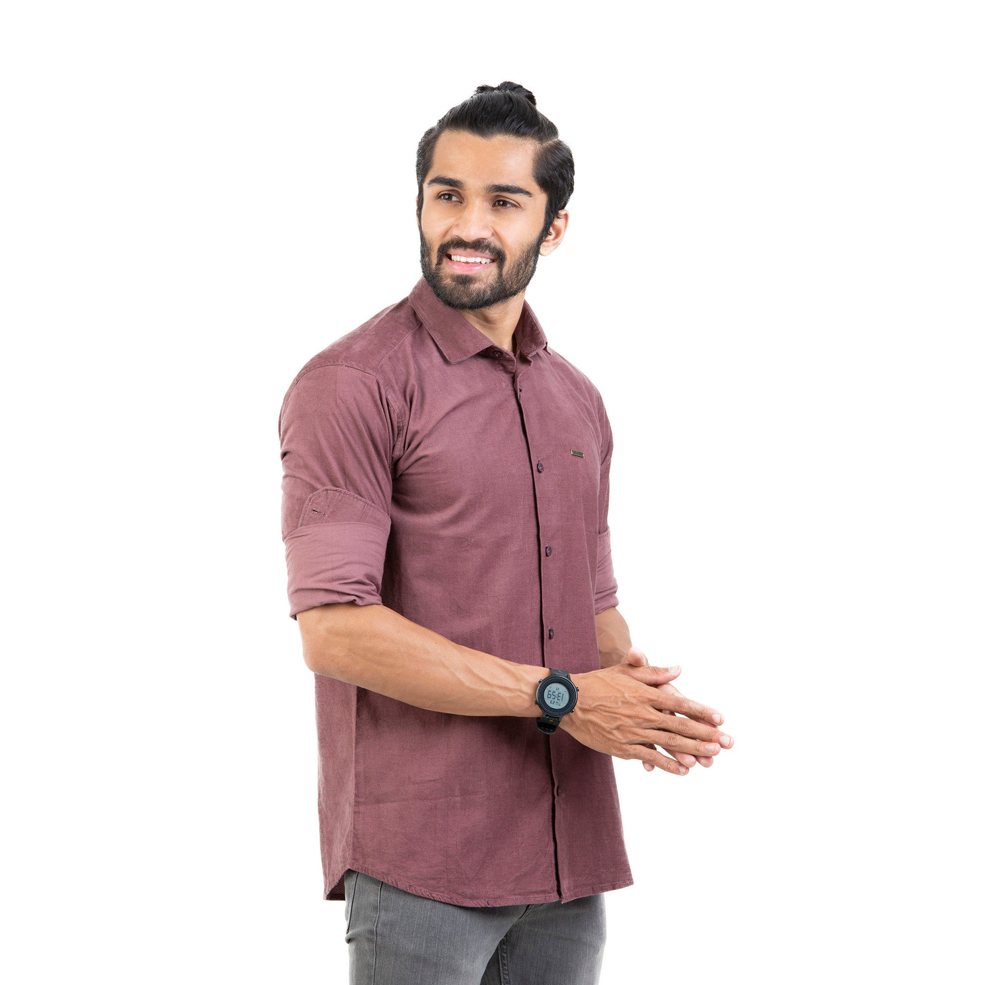 Men Burgundy Smart Slim Fit Solid Cotton Lycra Casual Shirt - Mr king