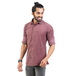 Load image into Gallery viewer, Men Burgundy Smart Slim Fit Solid Cotton Lycra Casual Shirt - Mr king