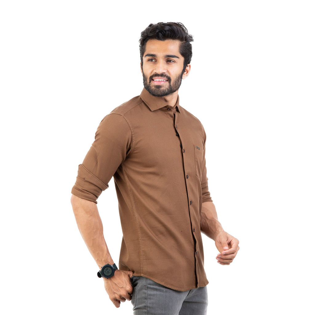 Men Brown Slim Fit Self Design Party Shirt - Mr king