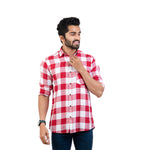 Load image into Gallery viewer, Men Red & White Regular Fit Checked Casual Shirt