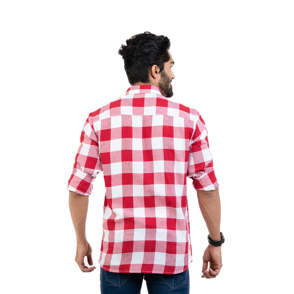 Men Red & White Regular Fit Checked Casual Shirt