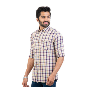 Men Soft Brushed Twill Checked Slim Fit Casual Shirt