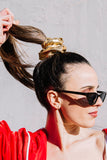 THAT I KNOW YOU WANT ME SCRUNCHIE - METALLIC GOLD LEATHER