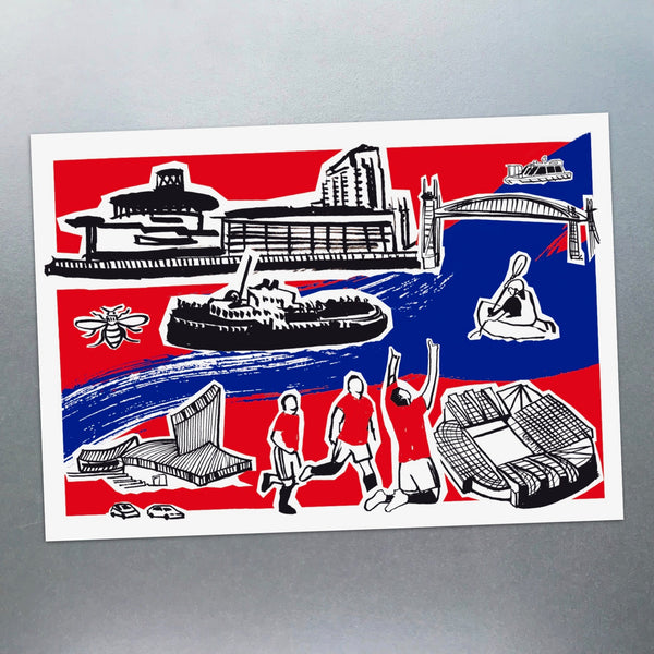 Features of Salford Quays Postcard - Blue Phoenix City Products Uk