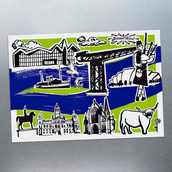 Features of Glasgow Postcard - Blue Phoenix City Products Uk
