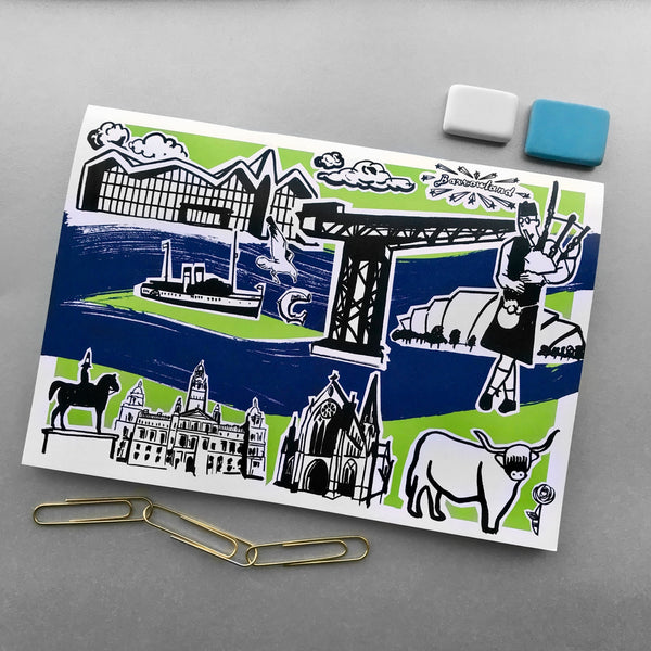 A5 Features of Glasgow Notebooks - Blue Phoenix City Products Uk