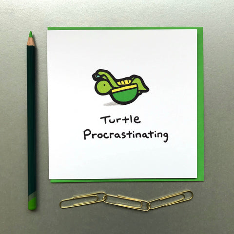 Turtle Procrastinating Card - Blue Phoenix City Products Uk