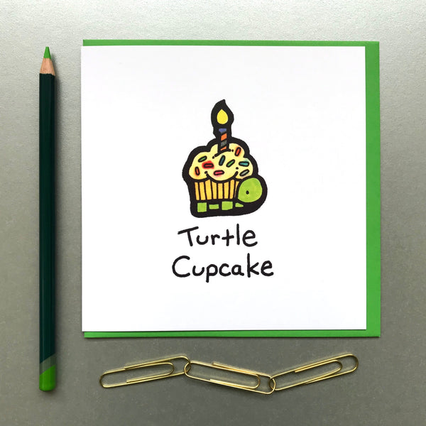 Turtle Cupcake Card - Blue Phoenix City Products Uk