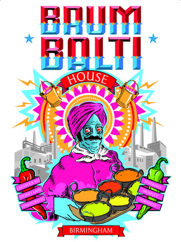 Brum Balti Postcard - Blue Phoenix City Products Uk