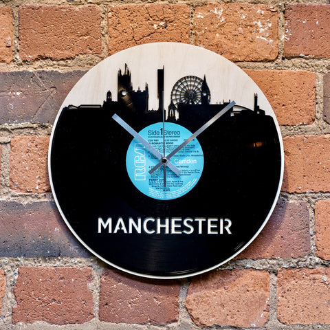 Manchester Skyline Record Style Clock