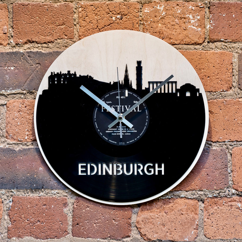 Edinburgh Skyline Record Style Clock - Blue Phoenix City Products Uk