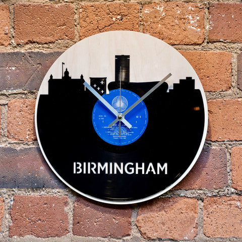 Birmingham Skyline Record Style Clock - Blue Phoenix City Products Uk