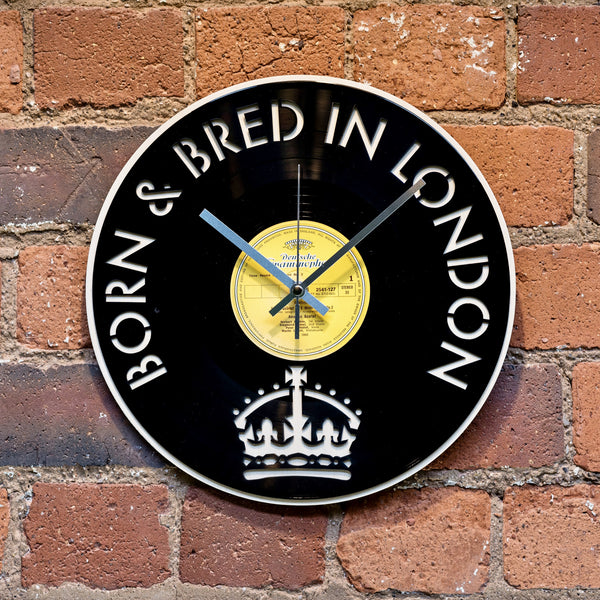 London Born and Bred Vinyl Clock - Blue Phoenix City Products Uk