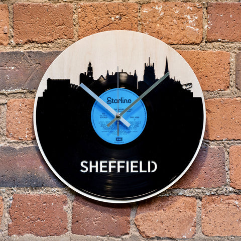 Sheffield Skyline Record Style Clock - Blue Phoenix City Products Uk
