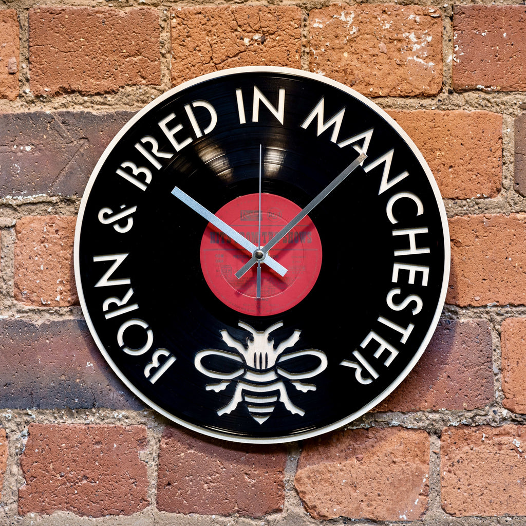 'Born and Bred in Manchester' Record Style Clock - Blue Phoenix City Products Uk