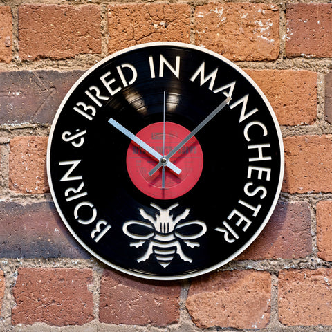 'Born and Bred in Manchester' Record Style Clock