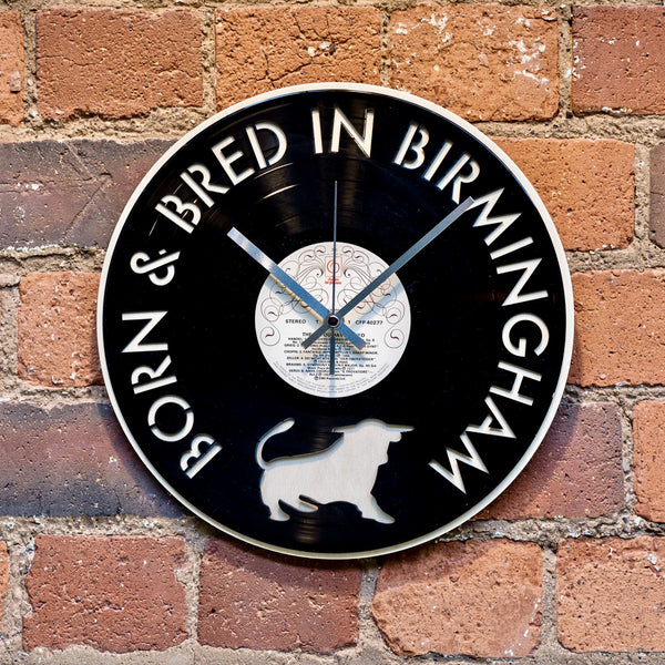 'Born and Bred in Birmingham' Record Style Clock - Blue Phoenix City Products Uk