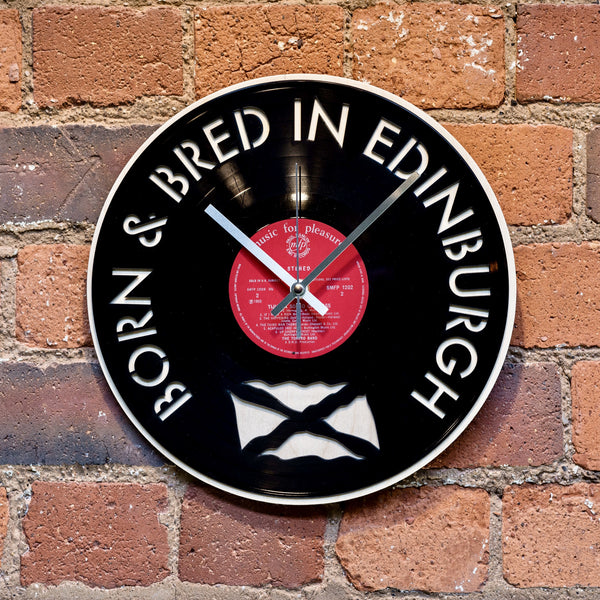 Edinburgh Born and Bred Vinyl Clock - Blue Phoenix City Products Uk
