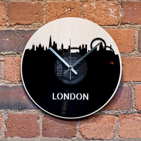 London Skyline Vinyl Clock - Blue Phoenix City Products Uk