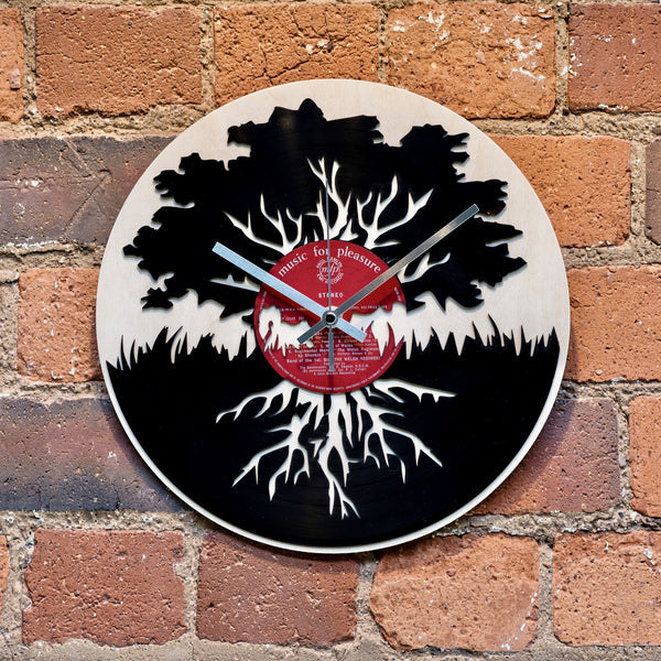 Oak Tree Record Style Clock - Blue Phoenix City Products Uk