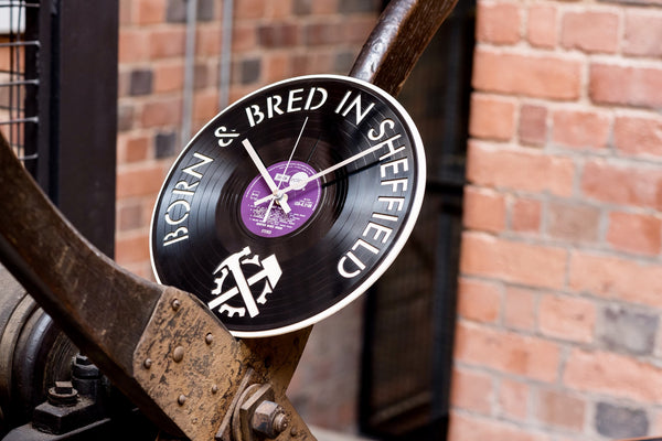 Sheffield Born and Bred Vinyl Clock - Blue Phoenix City Products Uk