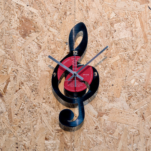 Treble Clef Record Style Clock - Blue Phoenix City Products Uk