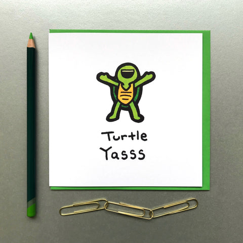 Turtle Yasss Card - Blue Phoenix City Products Uk
