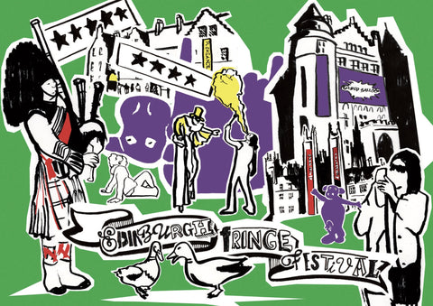 Edinburgh Fringe Festival Postcard - Blue Phoenix City Products Uk
