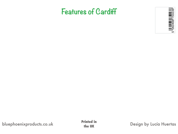 Features of Cardiff Postcard - Blue Phoenix City Products Uk