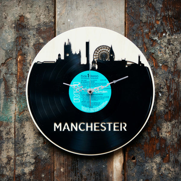 Manchester Skyline Record Style Clock - Blue Phoenix City Products Uk