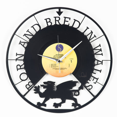Wales Born and Bred Vinyl Clock - Blue Phoenix City Products Uk