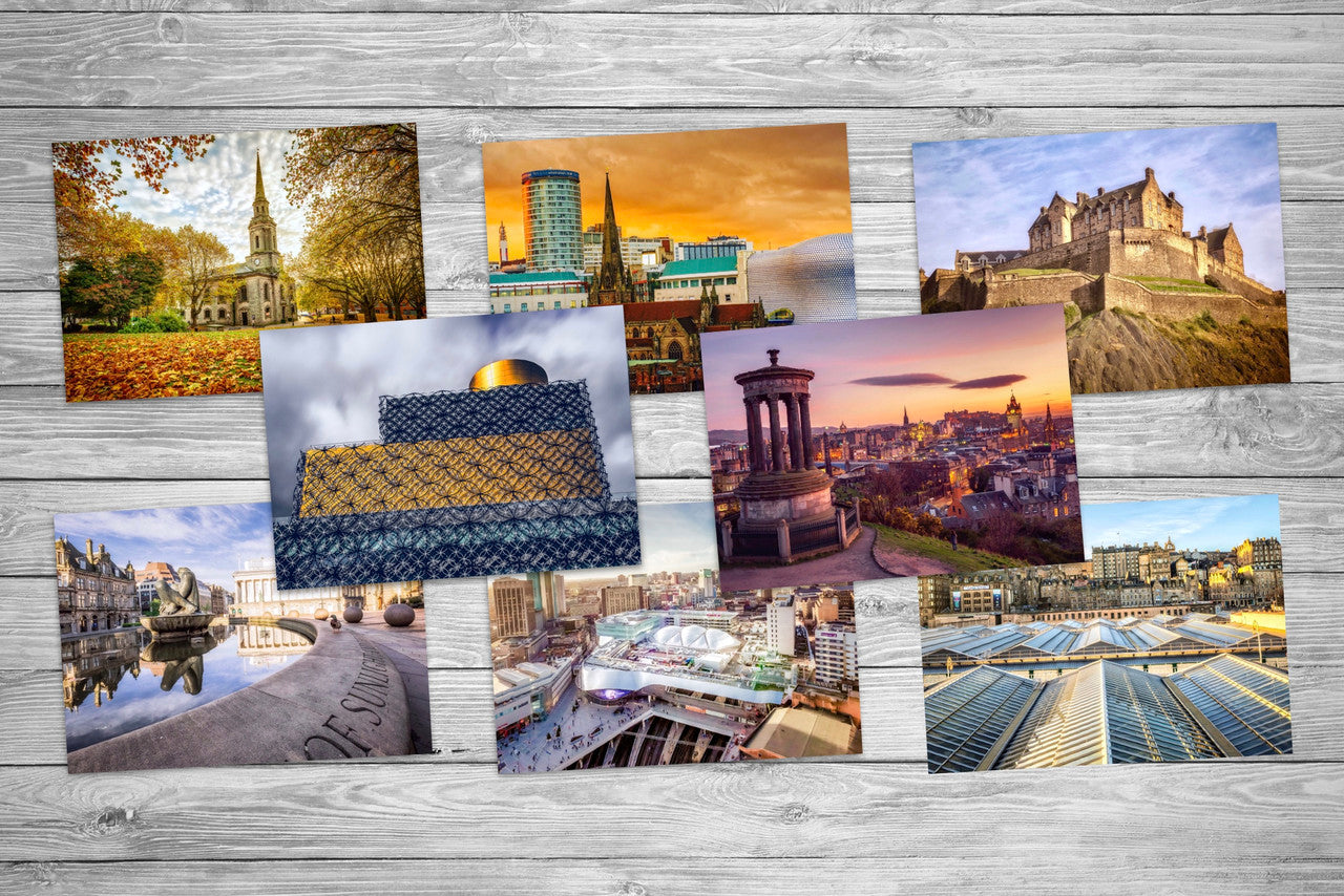 Verity Milligan Postcards and Magnets for Birmingham plus Edinburgh
