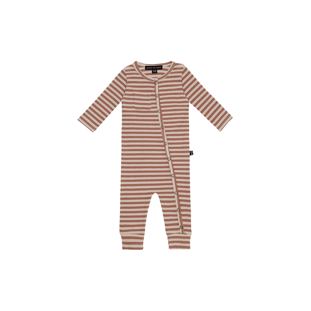 Rib Button Jumpsuit Baked Clay Stripes
