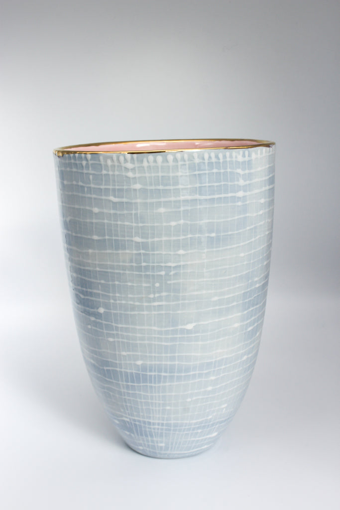 Vase White Lines on Blue M