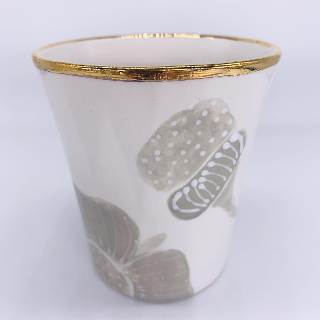 Summer Flowers Vase Wide Gold Rim
