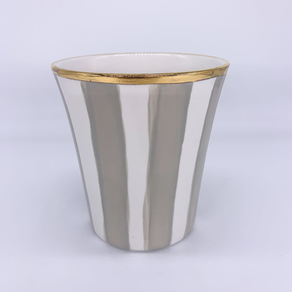 Stripes Vase Wide Gold Rim