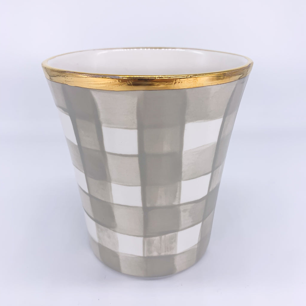Vase Checkered Wide Gold Rim