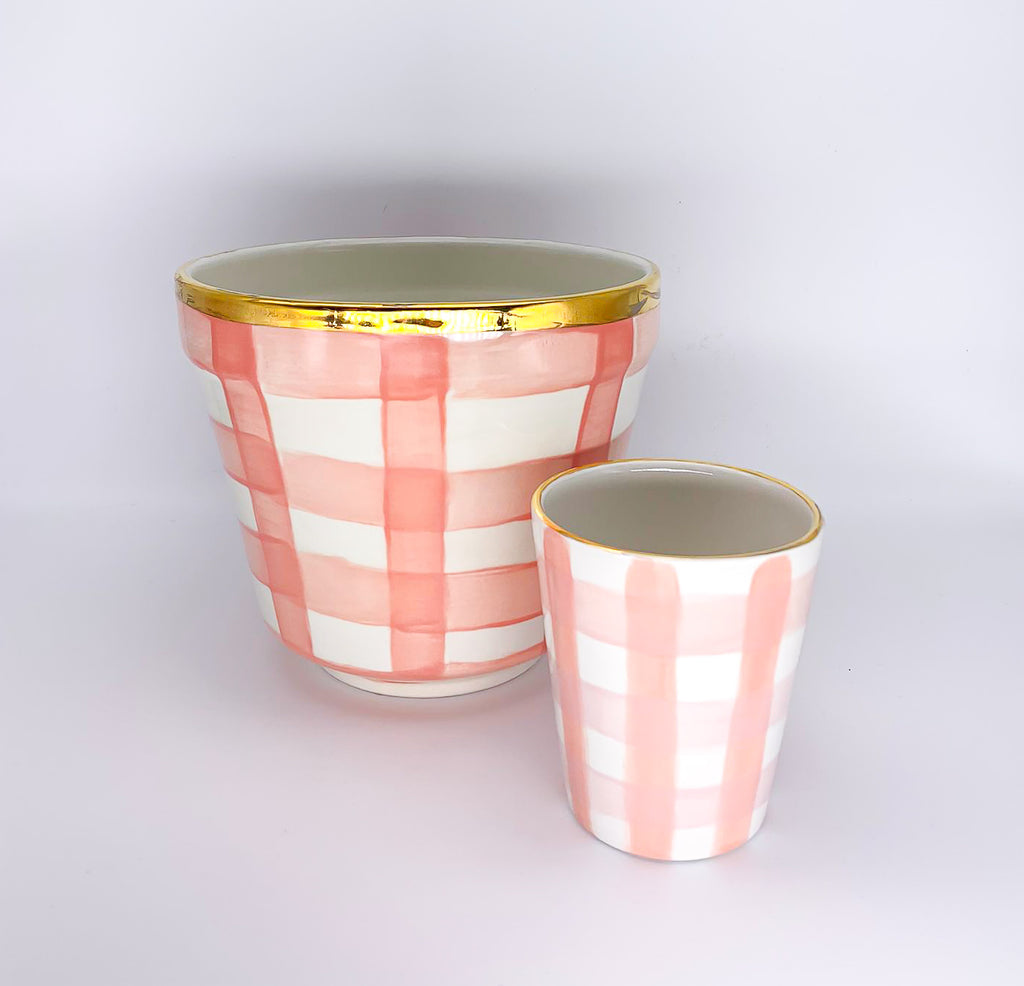 Flower Pot Checkered wide gold rim